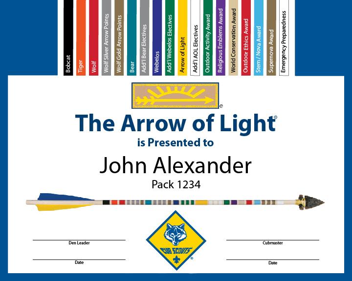 arrow of light certificate template 28 images arrow of