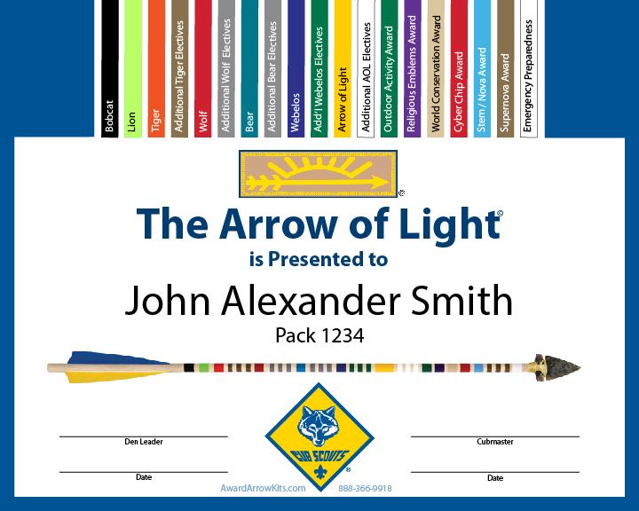 Free Arrow Of Light Personalized Award Certificate