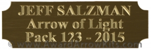 Arrow Of Light Engraved Brass Colored Plate With Adhesive Back