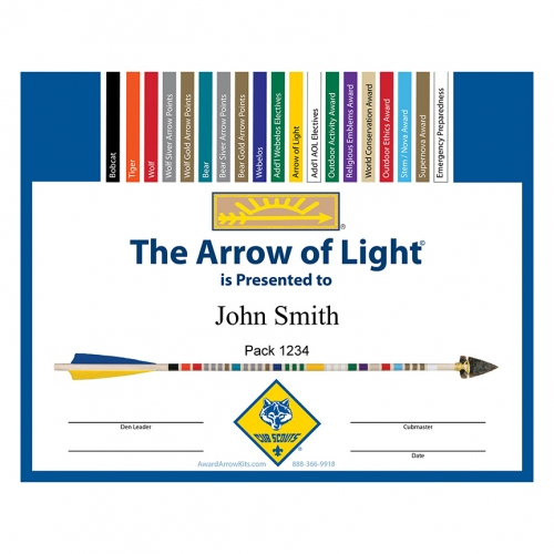 Free Arrow Of Light Personalized Award Certificate